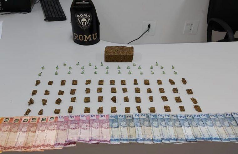 ROMU apreende drogas e encaminha dois rapazes à Delegacia Cidadã de Paranaguá