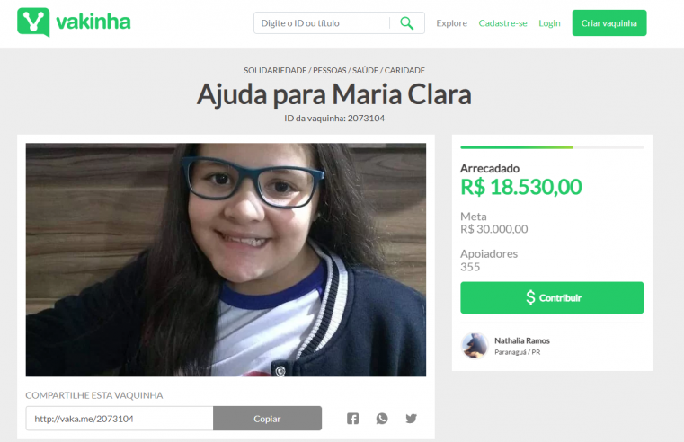 """Todos pela Maria Clara"": menina de 12 anos descobre problema grave de saúde e precisa de ajuda"