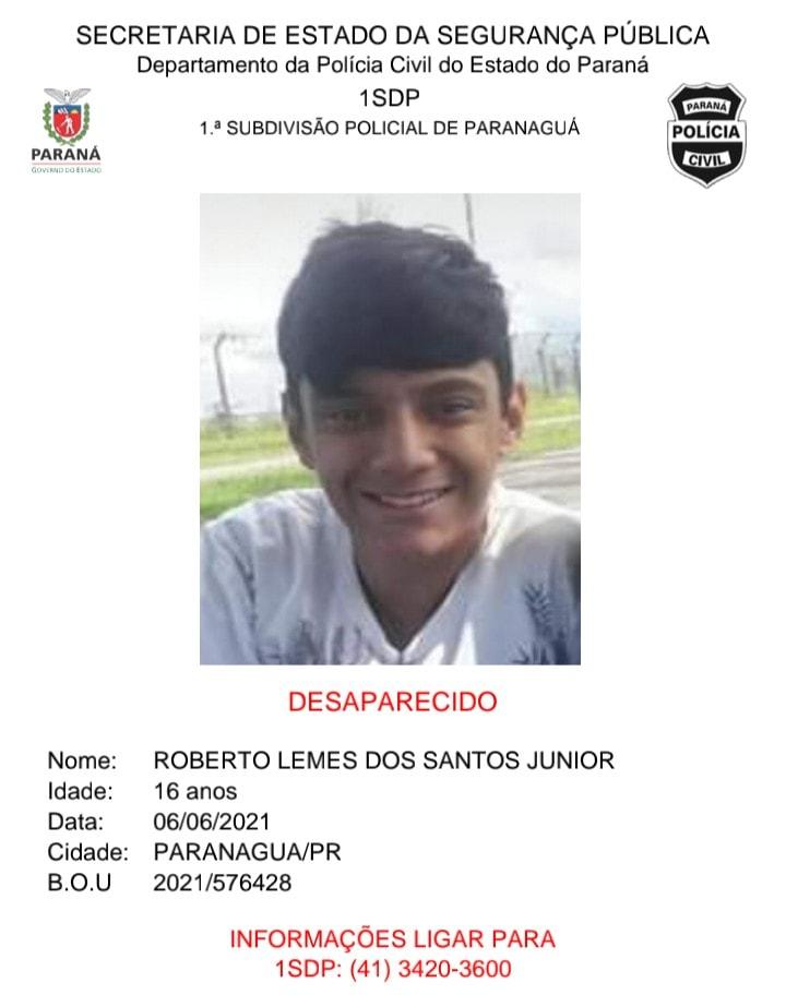 Jovem de 16 anos está desaparecido; família pede ajuda para encontrar