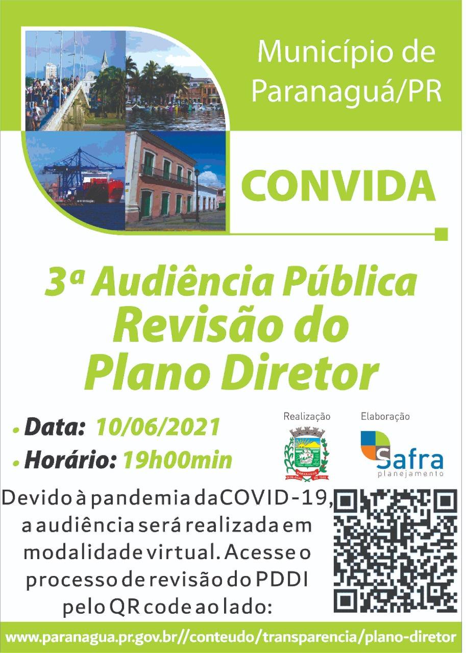 Nesta quinta-feira (10) a Prefeitura de Paranaguá realiza audiência pública da 3ª fase do Plano Diretor