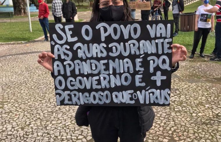 Paranaguá: Manifestantes fazem ato contra o presidente Bolsonaro e a favor da vacina